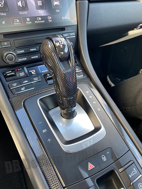 Porsche 981 carbon PDK shifter gear selector center console trim automatic shift knob