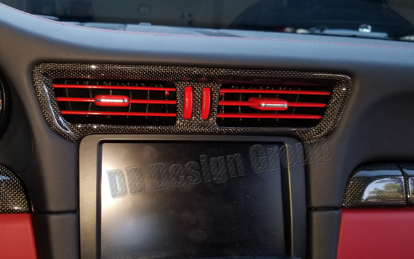Porsche 991 carbon center vents trim dash fresh air vent duct dashboard cover
