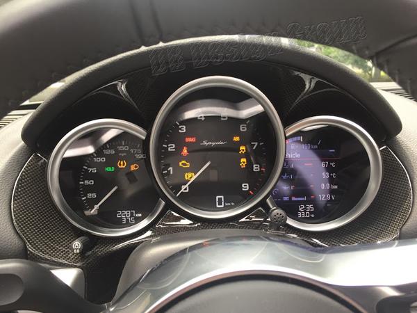 Porsche 981 carbon Verkleidung Cockpit Tacho Blende Kombiinstrument Abdeckung Instrumenten Rahmen Armaturenbrett