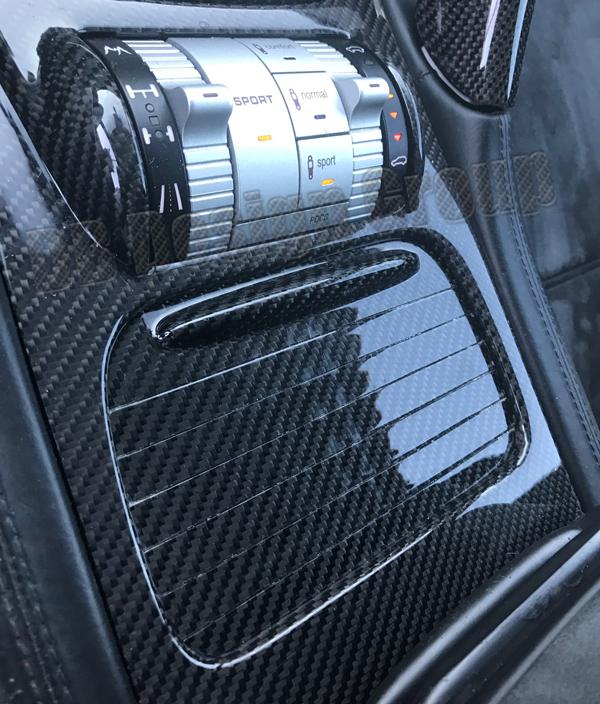 Porsche 955 Cayenne carbon Deckel Getränkehalter Mittelkonsole Blende Verkleidung Roll Becherhalter