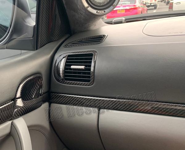 Porsche 955 Cayenne Carbon Seitendüsen Luftdüse Verkleidung Ausströmer Blende Lüftung Armaturenbrett Carbonteile