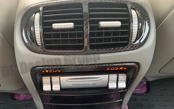 Porsche 955 Cayenne Carbon Mitteldüse Fond Luftdüse Ausströmer Konsole Lüftung Carbonteile
