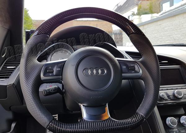 Audi R8 42 carbon steering wheel custom steering wheel flat bottom leather performance