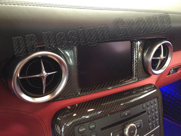 Mercedes Benz SLS AMG center air vents dashboard display frame trim