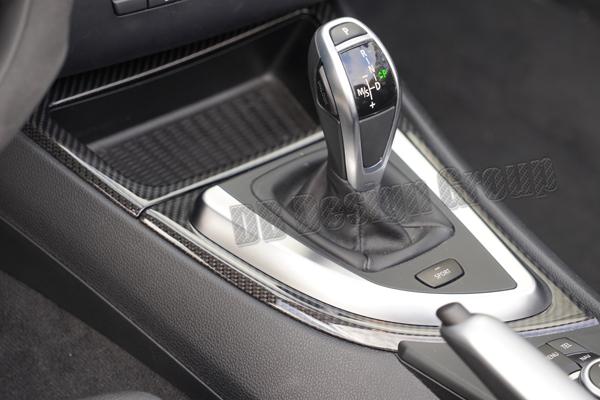BMW 1 E81, E87, E87LCI, E82, E88 carbon Konsole Verkleidung Schaltknauf Umrandung Mittelkonsole