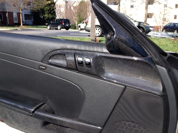 Porsche 987.2 carbon Zuziehgriffe Türverkleidung Griff Abdeckung Verkleidung Türgriff