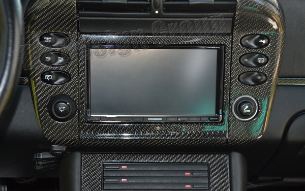 Porsche 996 carbon double DIN frame aftermarket navigation radio trim cover console surround