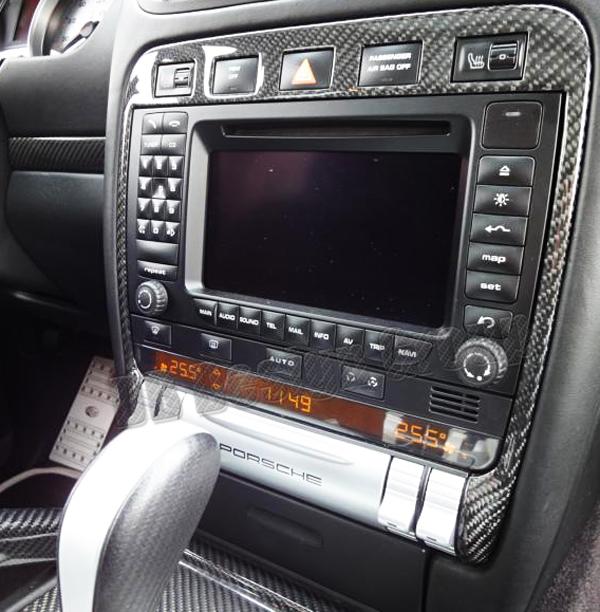 Porsche 957 Cayenne carbon Schalter Blende Center Konsole Rahmen Verkleidung Sitzheizung