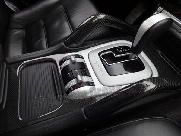 Porsche 955 Cayenne carbon center console trim shifter gear selector surround trim middle console cupholder