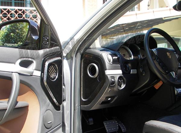 Porsche 955 Cayenne carbon Verkleidung Seitendüsen Armaturenbrett Blende Abdeckung Lüftung