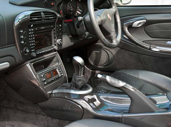 Porsche 996 carbon Mittelkonsole Verkleidungen Blenden Konsole seitlich