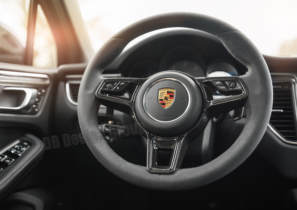 Porsche 95B Macan carbon Sport design steering wheel trim arm airbag surround cover