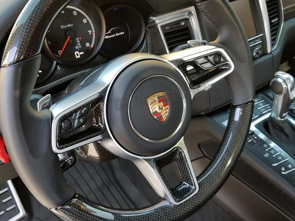 Porsche 95B Macan carbon Sport design steering wheel inserts trim arm multifunction switches
