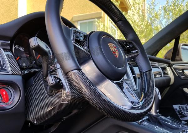 Porsche 95B Macan carbon steering column housing trim steering wheel switch cover