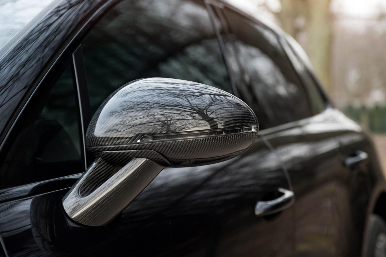 Porsche 95B Macan Carbon Sport Design Spiegelgehäuse Echt Carbon Spiegel Stützen Exterieur Carbonteile Seitenspiegel Kappen